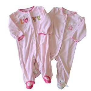 CARTER'S Lot of 2 Pink Terry Sleepers 9 mo